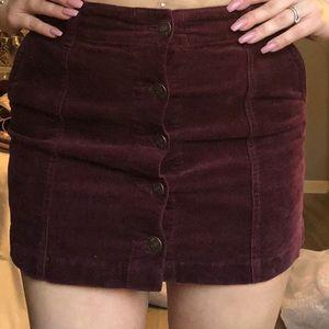Cute button up maroon corduroy skirt